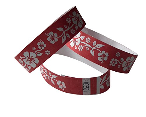 Tyvvek-controle-armbanden rood/wit bedrukt ALOHA
