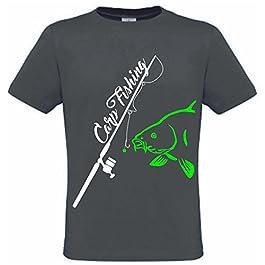 Carpe T-shirt pour homme Carp Fishing avec imprimé Carp Fishing et pêche à la carpe Gris