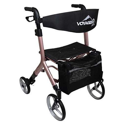 ProBasics Voyager Rolling Walker Rollator Rolling Walker with Seat Folding Height Adjustable Euro Style Rollator 4 Wheel Walker for Seniors 300lb Capacity, Rose Gold, 1 Count