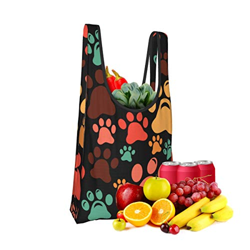 Mark Stars Colorful Paw Footprint Fold Eco-Friendly Shopping Bags Large Capacity Daily Necessity