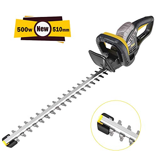 TECCPO Hedge Trimmer, 500W Electric Hedge Cutter, Blade Length 510mm, 20mm Tooth Opening, Double...