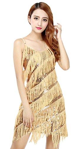 BELLYQUEEN Robe à Frange Femme Danse Latine Salsa Robe Charleston pour Déguisement Années 20 Robe Paillettes pour Soirée Spectacle Party Robe à Bretelles Réglables Gatsby Or Taille Unique