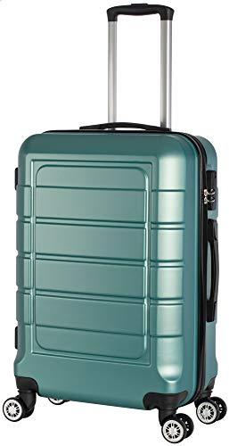 Cahoon - Hartschalen-Koffer Trolley Handgepäck Reisekoffer Kofferset 4 Rollen M-L-XL-Set 201 (Ocean-Green, Mittelgroßer Koffer)
