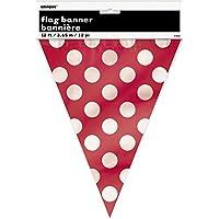 Unique Party- Banderines a lunares, Color rojo, paquete de 1 (10022)