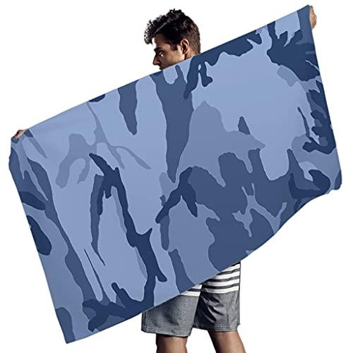 Rtisandu Toallas de playa rectangulares de camuflaje, absorbentes, toallas de mano, albornoz para hombres y mujeres, color blanco, 150 x 75 cm