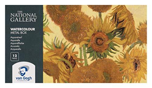 Van Gogh National Gallery Aquarell-Metallkasten, 12 Näpfchen feine Aquarellfarbe mit Pinsel