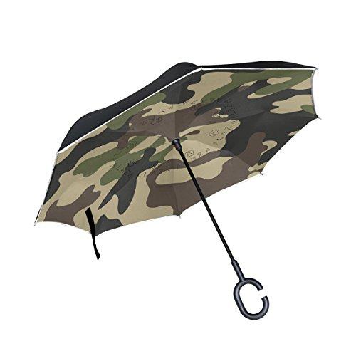 alaza Double-Layer-Inverted Regenschirm Autos umge Regenschirm Camouflage Winddichtes UVbeweis Reise im Freien Regenschirm