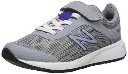 New Balance 455v2 Hook and Loop Running Shoe, Steel/Team Royal, 10.5 US Unisex Little Kid