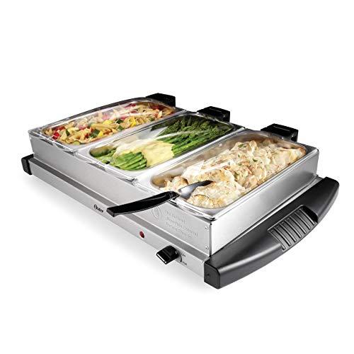 Oster Buffet Server, Triple Tray, 2-1/2 Quart, Stainless Steel (CKSTBSTW00-NP1) (Renewed)