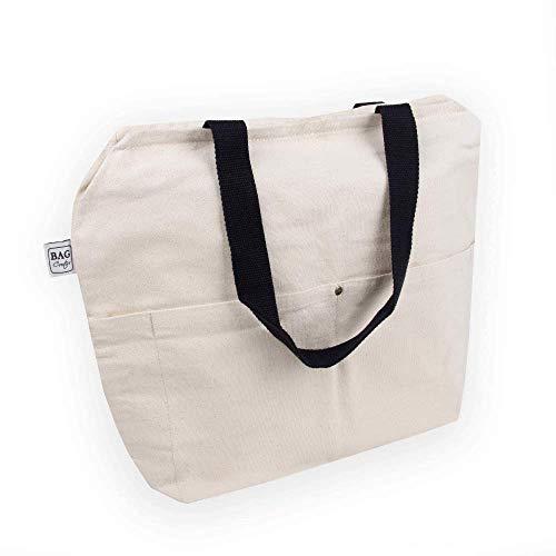 BagCouture Tragetasche | 2 Langen Henkel | 34 x 35 x 12 cm | mit Reißverschluss, und großem Boden | sehr robust | Baumwolltasche | Handtasche | Einkaufstasche | Segeltuch Material | Strandtasche