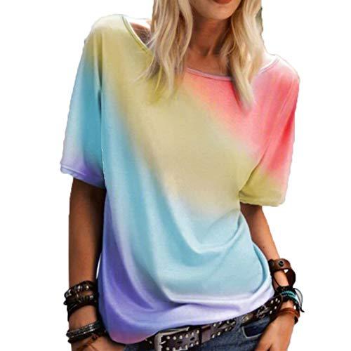 SLYZ Señoras Verano Gran Tamaño Cuello Redondo Arcoíris Camiseta Estampada Suelta Casual Top Mujeres