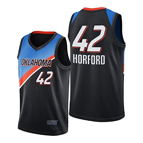QJV Horford Basketball-Trikots für Männer, OKC Swingman Herren Jersey 2020-21 Thunder Horford Black City Jersey (S-XXL) XXL