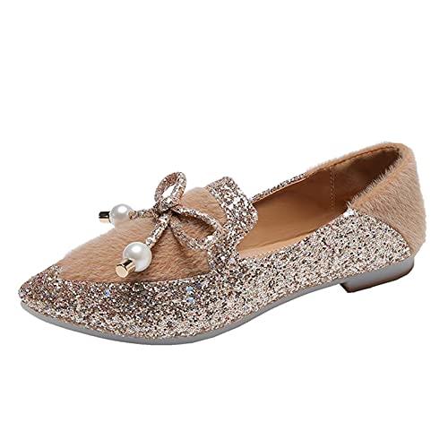 URIBAKY - Zapatillas de ocio para mujer, con purpurina y diamantes de imitación a la moda, zapatos de deporte, transpirables, transpirables y cortos, zapatillas de deporte, marrón, 39 EU