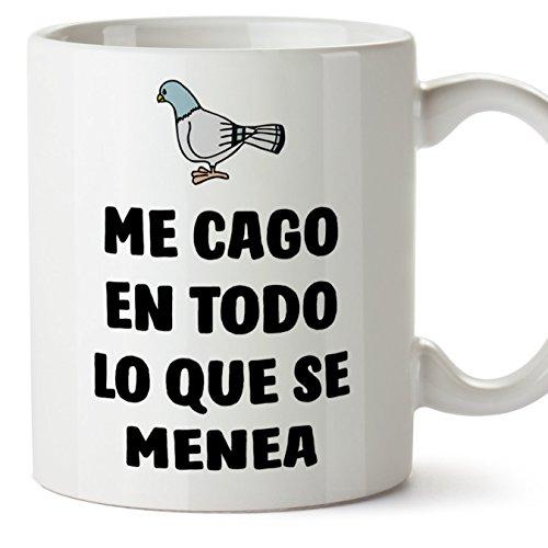 MUGFFINS Tazas Desayuno Originales con Frases motivadoras – Paloma: Me CAGO en Todo lo Que se menea - 350 ml