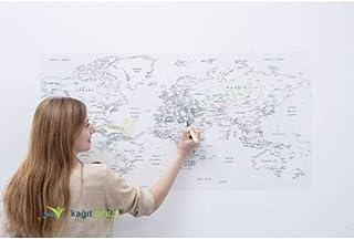 خريطة العالم شفافة (للطلاء) - ملصق ذاتي (لا يوجد صمغ لا بقايا) 110×56سم (43,30×22,04 بوصة)