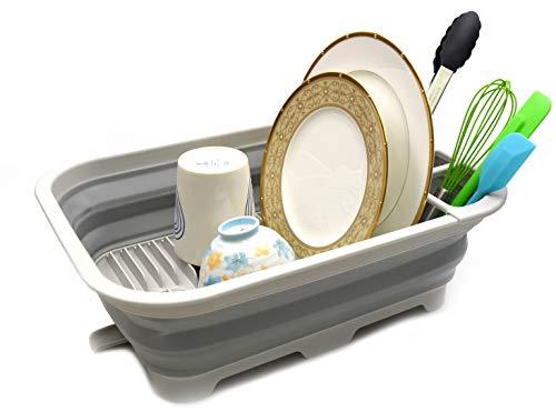 SAMMART Escurridor plegable con boquilla giratoria – Juego de tendedero plegable – Organizador portátil de vajilla – Bandeja de almacenamiento de cocina para ahorrar espacio (gris)
