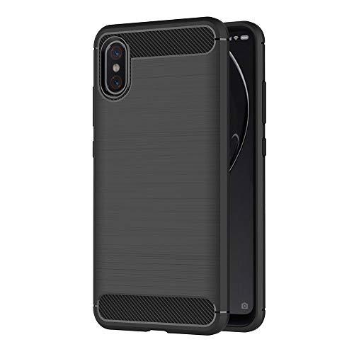 AICEK Funda Xiaomi Mi 8 Pro, Negro Silicona Fundas para Xiaomi Mi 8 Pro Carcasa Xiaomi 8 Pro Fibra de Carbono Funda Case (6,21 Pulgadas)