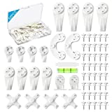 62PCS Hardwall Hangers for Cinder Block, Invisible Nail Hangers, No Damage Wall Picture Hooks for Photo Picture Frame Art Painting Non-Trace Drywall Picture Hanging Kit Hooks