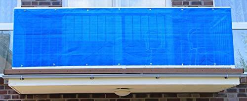 S&D Smart Deko 800x90cm Blau Balkonsichtschutz, Balkonverkleidung, Windschutz, Sichtschutz und UV-Schutz für Balkon, Gartenanlagen, Camping und Freizeit (800x90cm)