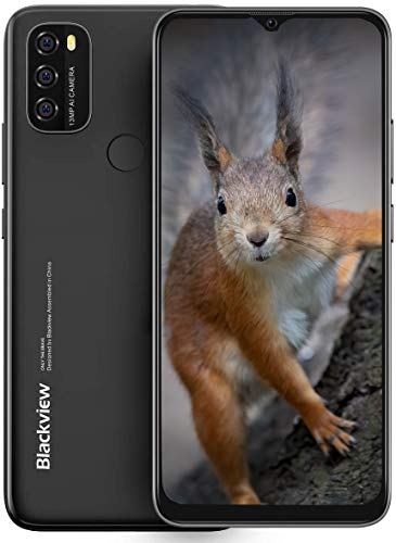 Moviles Libres, Blackview A70 Smartphone 4G de Pantalla 6.5' Water-Drop Screen, Teléfono 3GB + 32GB (SD 128GB), 13MP + 5MP, Batería 5380mAh Teléfono Móvil, Android 11, Face ID/GPS-Negro