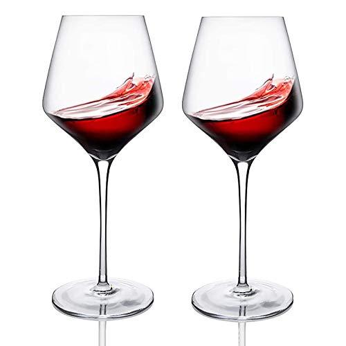Krrinnhy Weingläser 570 ML Hochwertige Qualität bleifreies Kristallglas und Spülmaschinenfest Rotweingläser Perfekt für zu Hause Restaurants und Partys 2Er Set