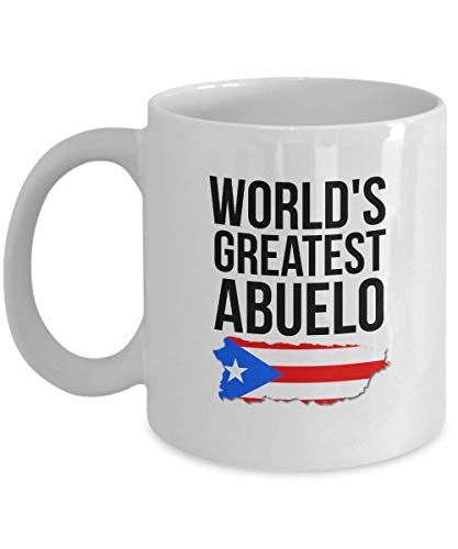 Abuelo Mug - World's Greatest Abuelo - Novelty Puerto Rico Coffee Cup For Grandfathers with Puerto Rican Flag