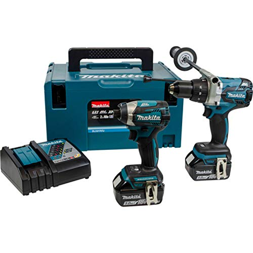 Makita DLX2176TJ 18 V Li-ion LXT Brushless 2 Piece Kit comprising Combi Drill, Impact Driver with 2 x 5.0 Ah Li-ion Batteries and Charger in Stacking Case