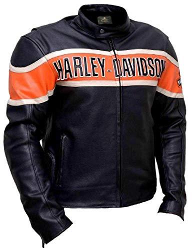 DHA Leather Garments Chaleco de Moto de Cuero Negro para Hombre de los Amantes de la Bicicleta