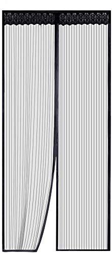 Zanzariera Magnetica per Porte - Rabbitgoo Zanzariera Porta Nera 110x220 CM con Calamita, Entra l'Aria Fresca filtrando fuori gli Insetti per Porte Misura Max 104x218 CM)