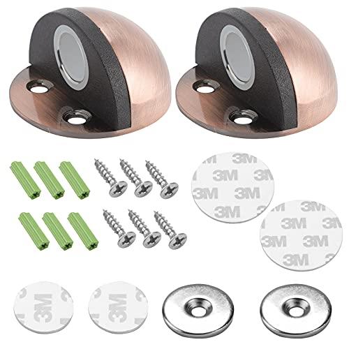 Topes de puerta magnéticos de acero inoxidable para puerta de piso de vidrio para proteger las paredes y puertas (2 unidades, bronce rojo)