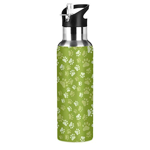 xigua Botella de agua deportiva aislada con tapa de pajita, de acero inoxidable, antifugas, con diseño de patas de animales verdes
