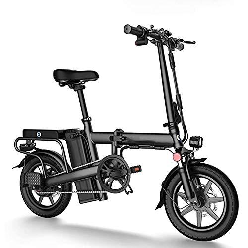 WXX Adultos Bicicleta Plegable eléctrica, aleación de Aluminio de 14 Pulgadas 48V batería de Litio extraíble de Bicicletas E-Bici, Ciclo al Aire Libre para Trabajar el Cuerpo Viaje,Negro,6AH