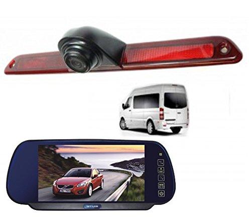 YMPA Rückfahrsystem einparkhilfe Transporter kompatibel mit Mercedes Sprinter Crafter Rückfahrkamera mit Monitor Spiegel Innenspiegel 17,8 cm 7 Zoll Inch 10 Meter Kabel Farbe IR Nachtsicht