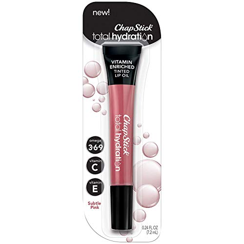 ChapStick Total Hydration Vitamin Enriched Tinted Lip Oil Subtle Pink 1 Tube Vitamin C Vitamin E Contains Omega 3 6 9 024 Ounce