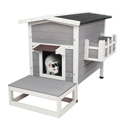 Petsfit Large Outdoor Cat House Waterproof, Outside Feral...