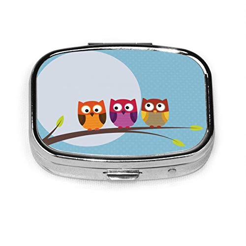 Daily Pill Organizer Moon and Three Owls Square Box Case Compact 2 Compartment Vitamins Tablet Holder Container Metal Portable for Daily Needs Travel Purse Pocket