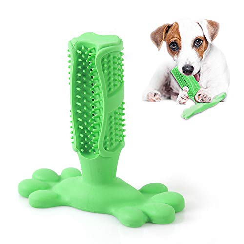 Dog Toothbrush Chewing Toys Rubber Dog Tooth Cleaning Stick Anti bite Care with Toothpaste Reservoir Green L