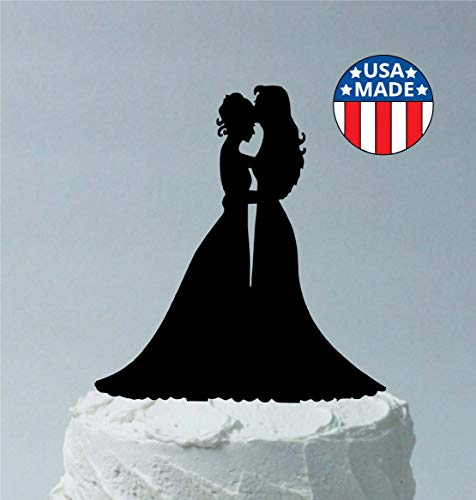 *MADE IN USA* Lesbian Wedding Cake Topper, 2 Brides in Both in Dresses, Gay Cake Topper LGBTQ Rainbow Nation, Cake Decoration, Made in the USA
