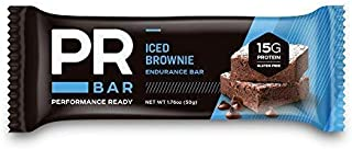 PR Bar   Iced Brownie 15g Protein Bar   Energy Sustaining & Hunger Curbing   Whole Nutrition   On-The-Go Soy and Whey Protein Snack   Informed-Choice Certified   Gluten-Free   12 Pack