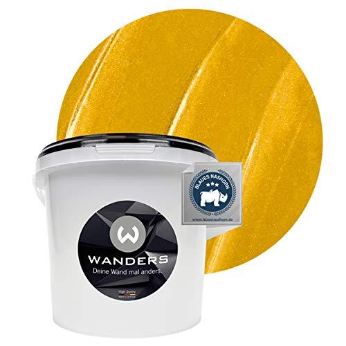 Wanders24® Metall-Optik (3 Liter, Gold) Wandfarbe Metallic - zum Spachteln im Metallic Look - in 17 edlen Farbtönen erhältlich - Made in Germany
