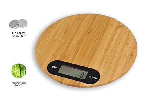 PRITECH - Báscula Digital de bambú Resistente para Cocina, Peso máximo 5Kg y Alta precisión, Auto Apagado y Función de Tara. (Redonda)