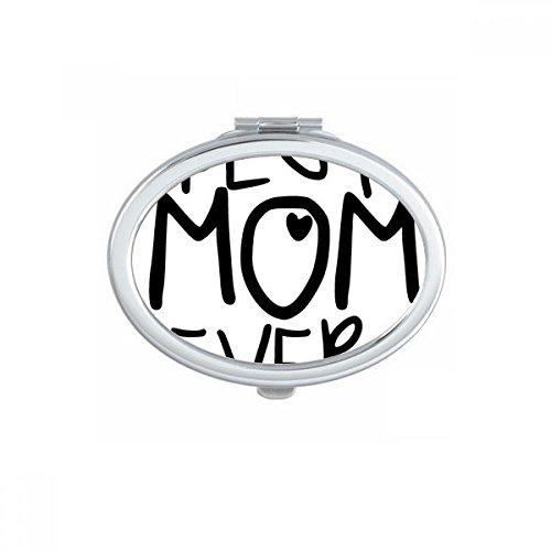 DIYthinker La Meilleure Maman Ever Mots Citations Jour Ovale Maquillage Compact Mère Famille Miroir de Poche Miroirs Mignon Petit Cadeau à la Main Port Multicolore