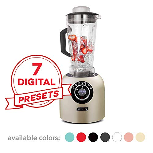 Dash DPB500CH Chef Series Blender with Stainless Steel Blades + Digital Display for Coffee Drinks,...