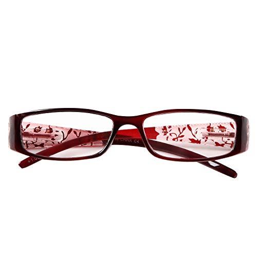プレピア New CrystalFlower101 バネ丁番採用 シックでオシャレな落ち着いた女性向きの花柄老眼鏡 持ち歩きにも邪魔にならないソフト眼鏡ケース付き[PrePiar](ワイン101,+15)
