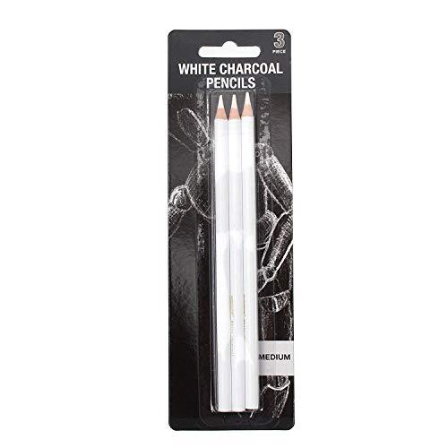 R K 3 Pcs White Medium Charcoal Art Drawing Pencils Set, Sketching Pencils for Dark or Tinted Paper