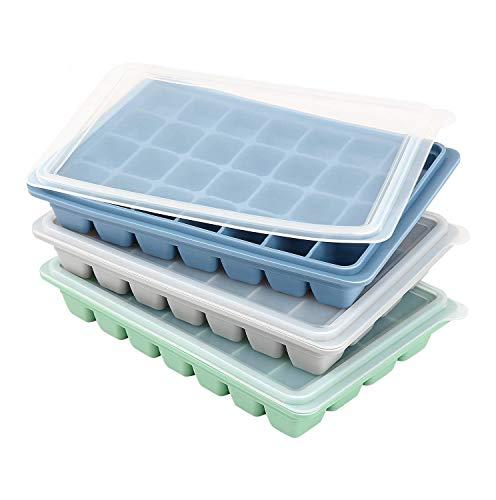 LessMo 3 Stk. Eiswürfelform, Packungen Silikon Eiswürfelformen mit Deckel für Whisky, Cocktails und Wein - Flexibel,Professionelle Qualität, BPA-Frei und FDA-Zugelassen