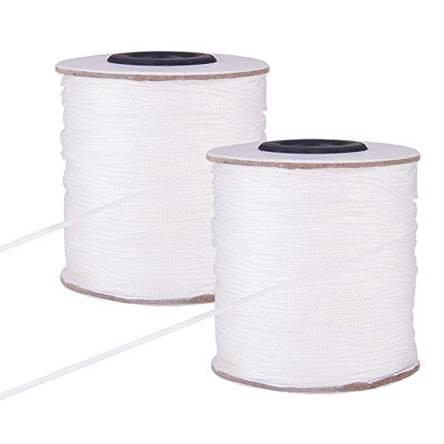 PandaHall 2 Roll 1mm 100m / 109 Yards weißes Polyester-Band geflochtene Aufzug-Farbton-Schnur für Vorhänge Windows Roman-Farbton-Reparatur, Gartenpflanze-Fertigkeit (656 Fuß total)