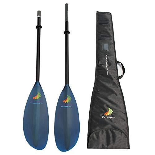 ZJ Sport Leggero Blu Traslucido della vetroresina Lama Sea Kayak Touring Paddle con Il Carbonio Ovale Shaft in 10cm Lunghezza Extend(Media Shaft (Borgogna, Il 90% di Carbonio), 215-225CM)