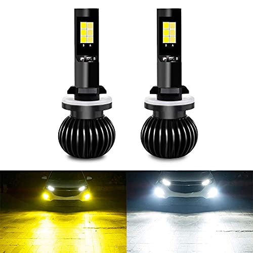 CIIHON 881 880 LED Fog Light Bulb 3030SMD 35W Light Bulbs Not Headlight 1900LM Dual Color 6000K White 3000K Yellow 886 896 DRL Replacement Pack of 2