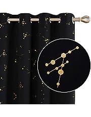 Deconovo Gordijnen Constellation Goud Gedrukt Thermische Geïsoleerde Gordijnen Ooggordijnen Verduisteringsgordijnen voor Kinderen Slaapkamer Zwart W52 x L84 Een Paar
